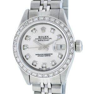 Rolex Ladies Datejust Silver Diamond Watch